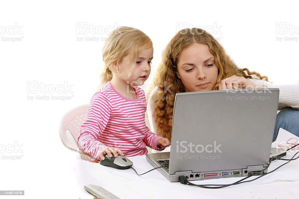 girls and PC royalty-free stock photo