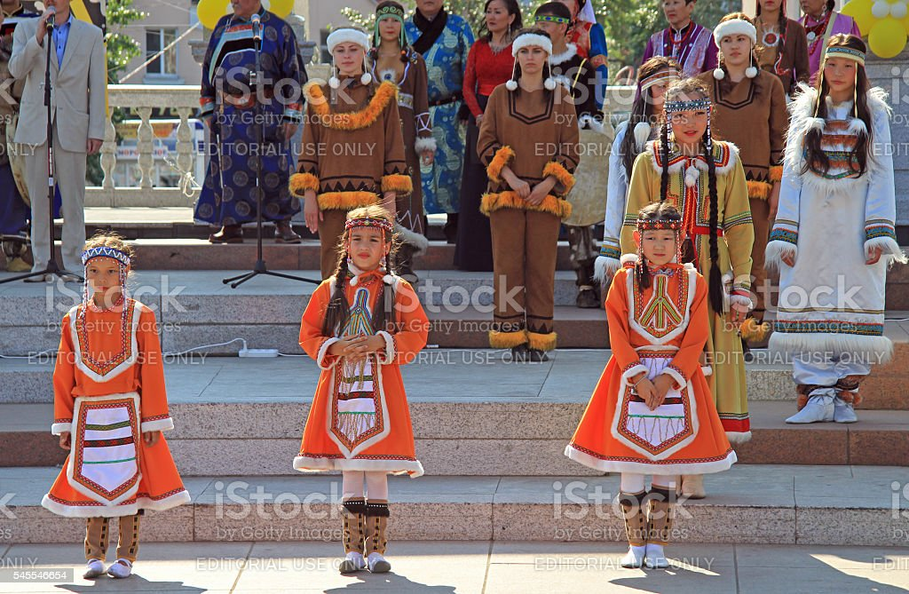 girls are performing at festival stock photo