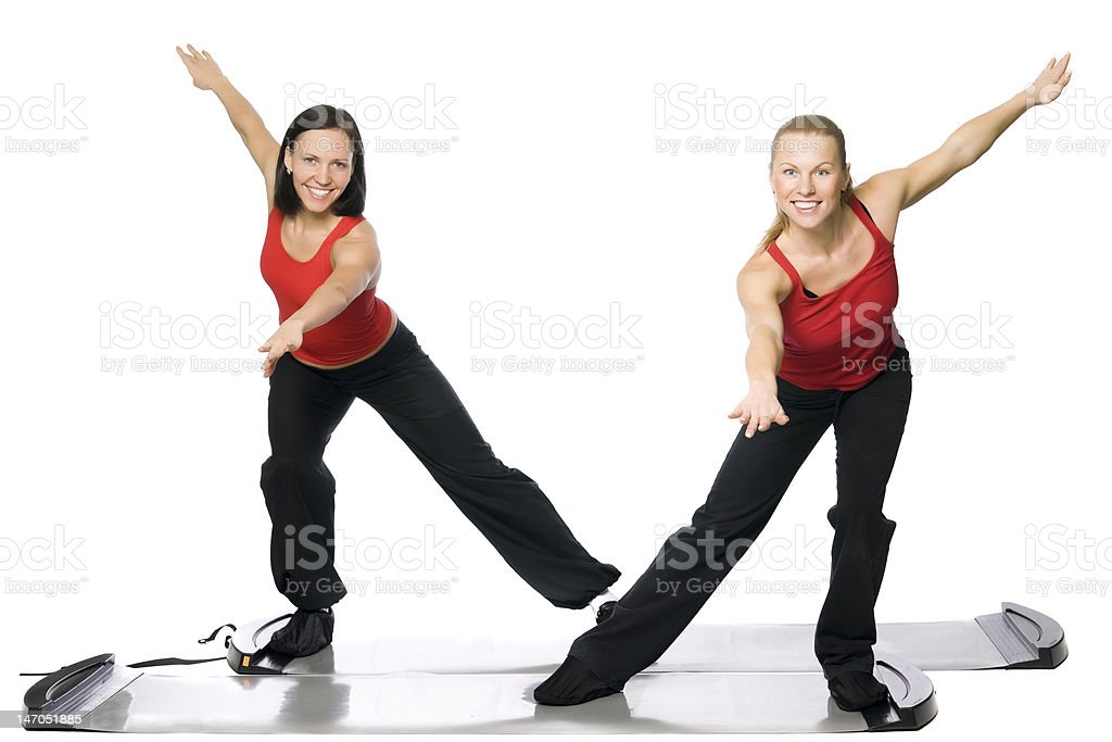 Girls are working out royalty-free stock photo