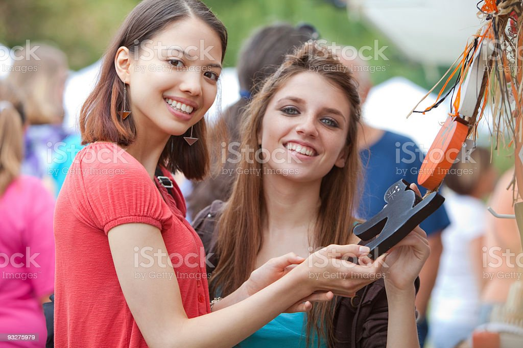 Girls at a Craft Show stock photo