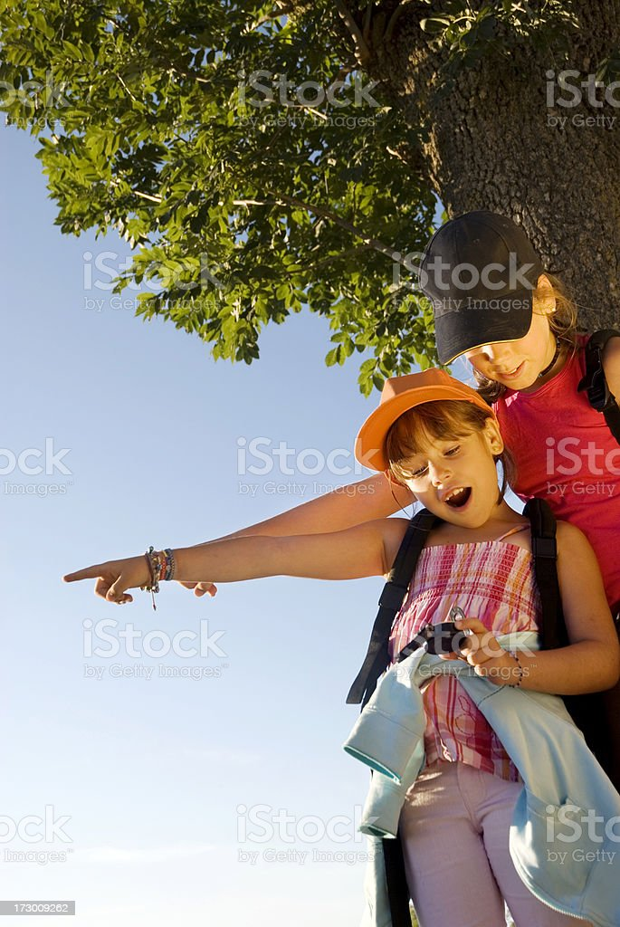 Girls at a field trip royalty-free stock photo