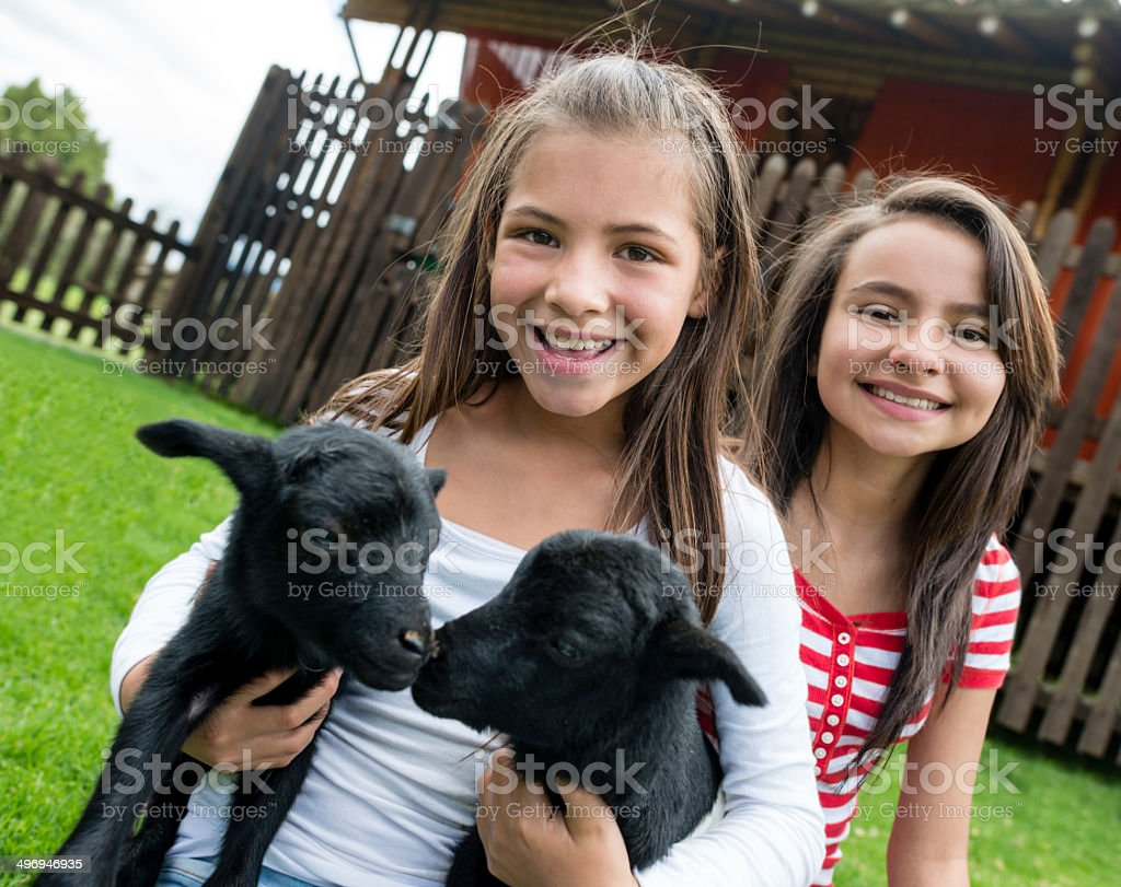 Girls at an animal park stock photo