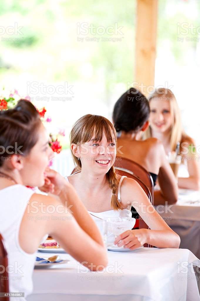 Girls at lunch royalty-free stock photo