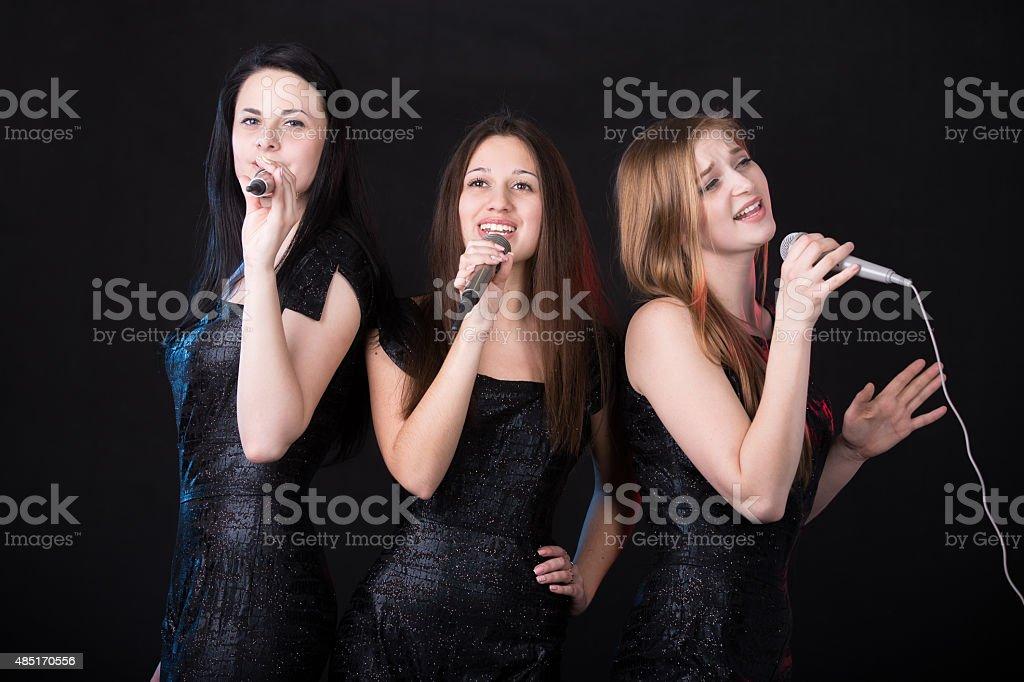 Girls band concert stock photo
