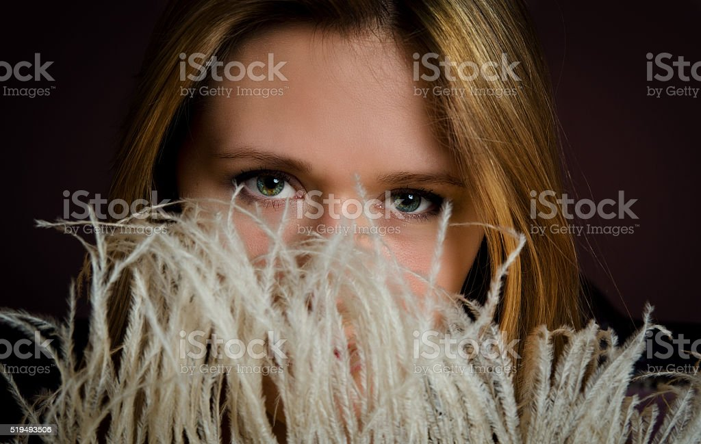 Girl's beautiful green eyes stock photo