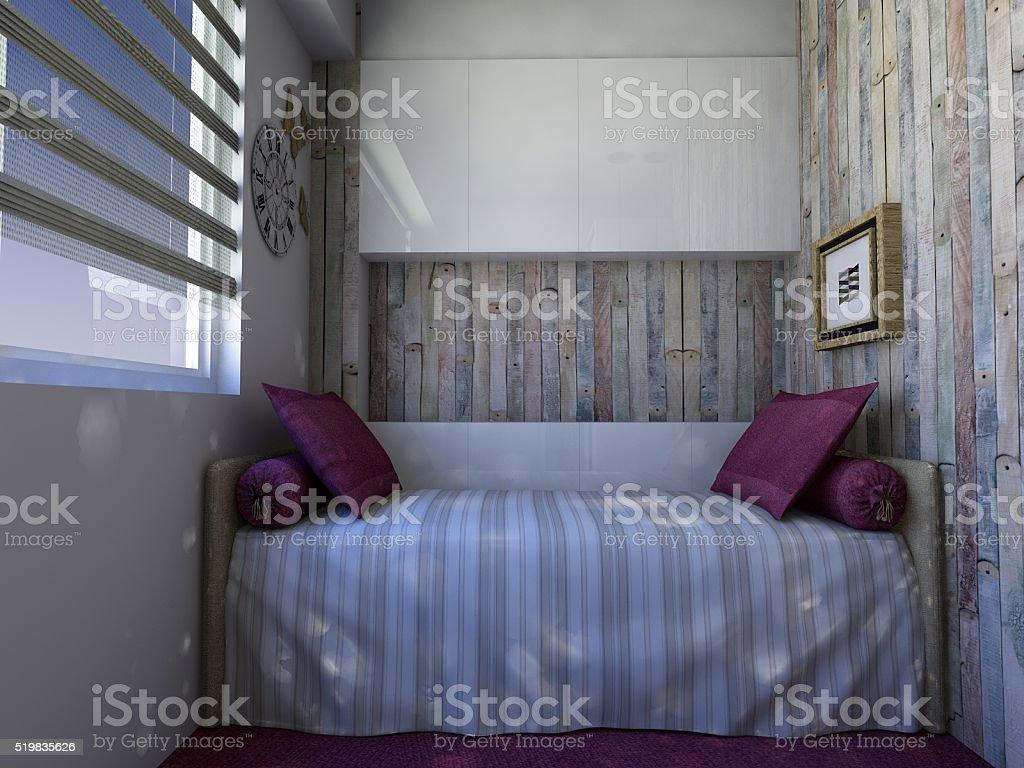 Girl's bedroom design stock photo