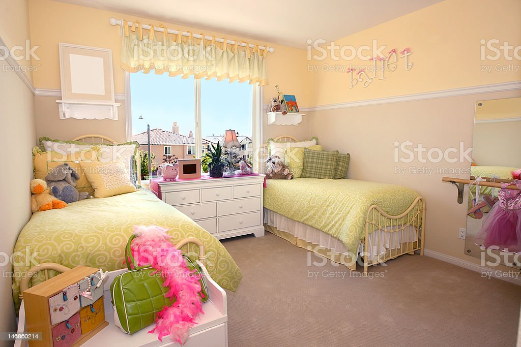 girl's bedroom stock photo