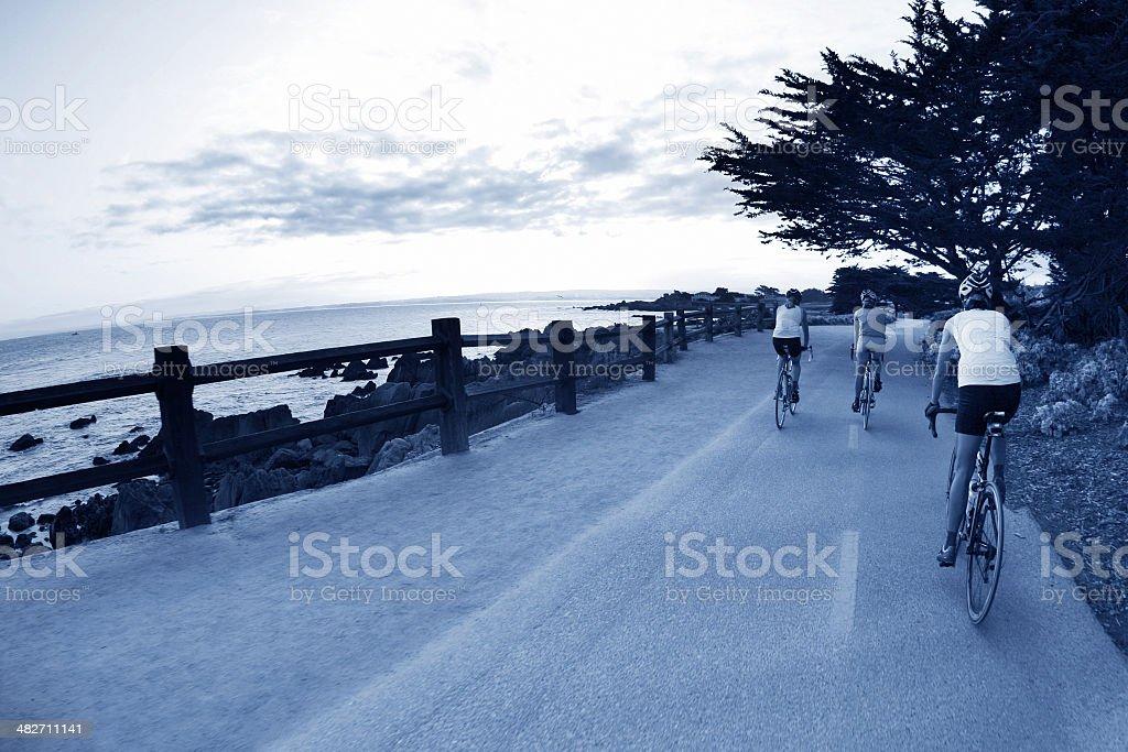 Girls Bike Ride in Pebble Beach stock photo