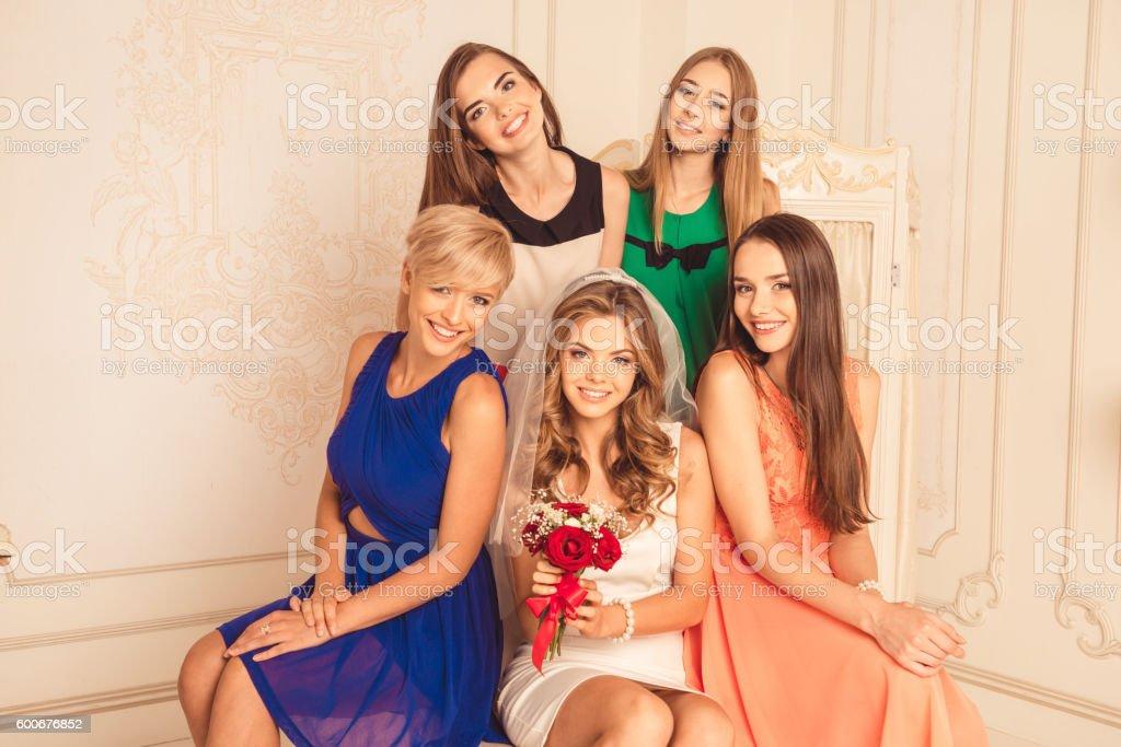 girls celebrate a bachelorette party of bride stock photo