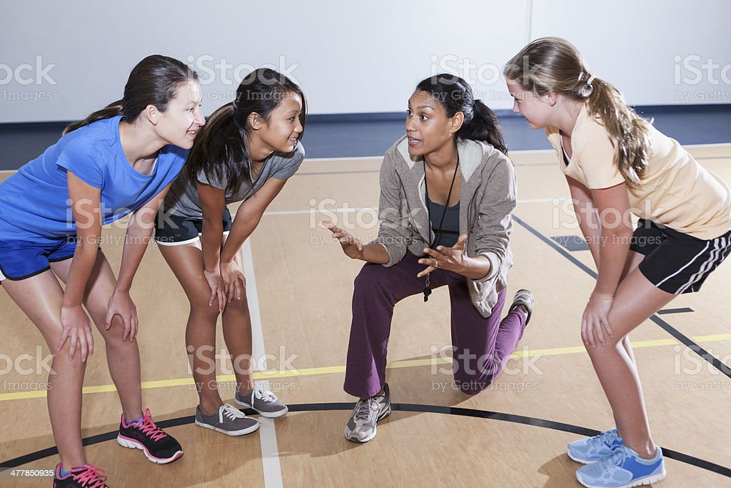 Girls' coach royalty-free stock photo