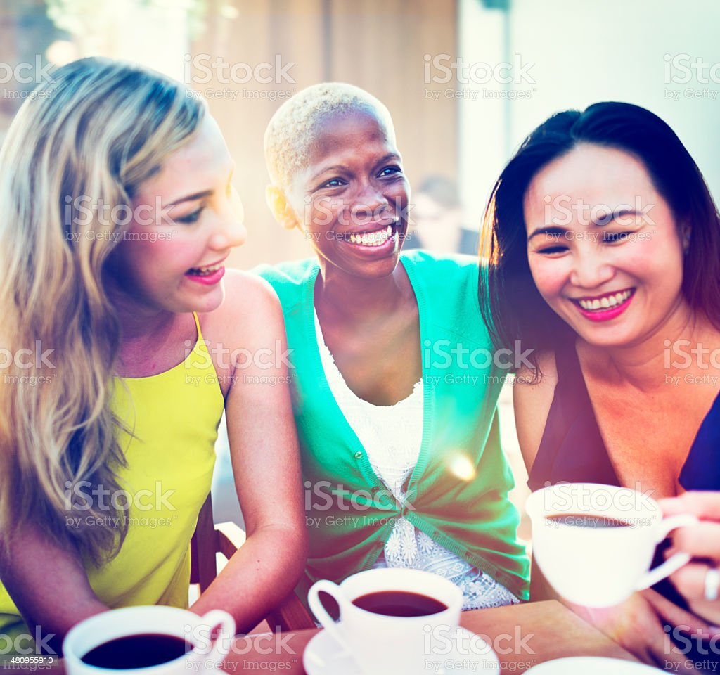 Girls Coffee Break Talking Chilling Concept stock photo