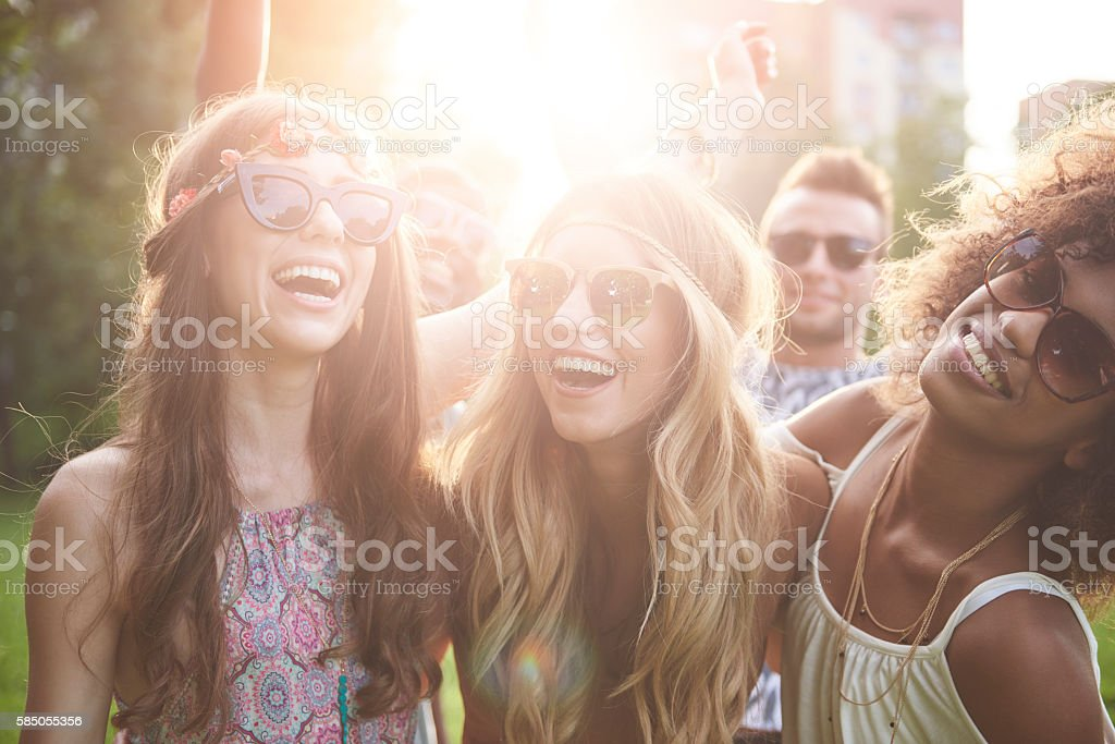 Girls dancing at the festival stock photo
