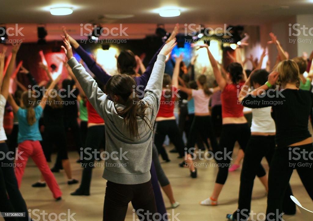 Girls Exercising royalty-free stock photo