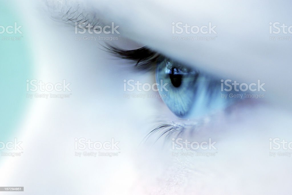 Girl's eye close up stock photo