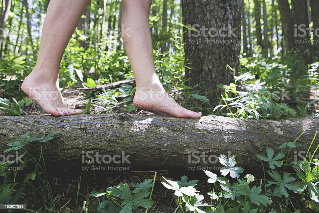 Girls feet walking on a log in the forest stock photo