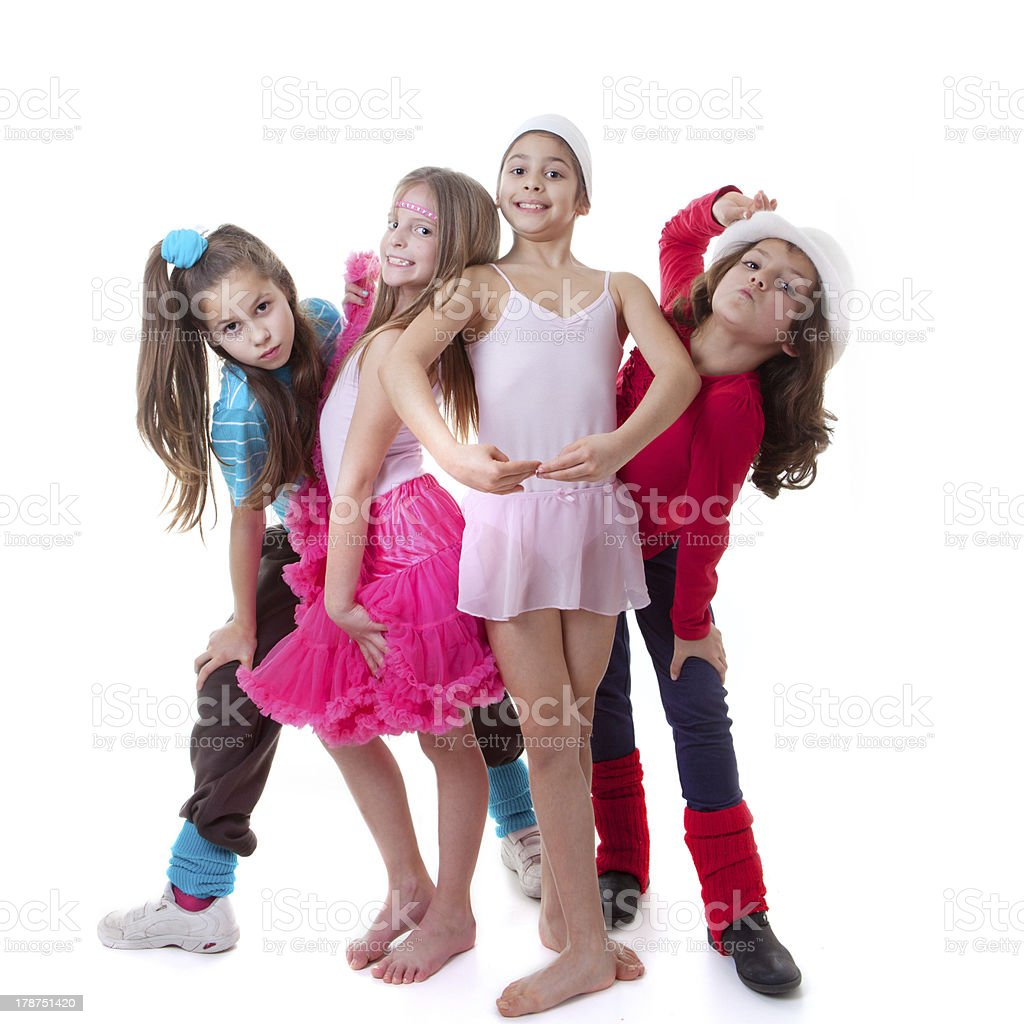 Girls from a dance school pose for photo shoot stock photo