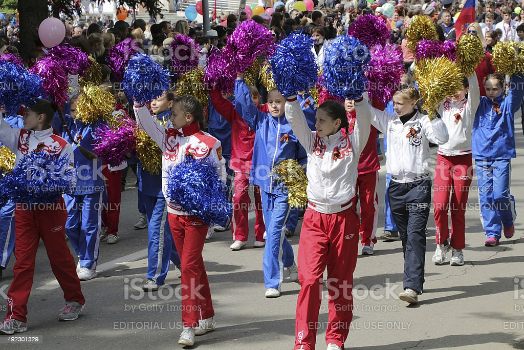 Girls from sports school on parade royalty-free stock photo