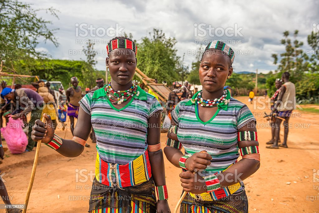 Girls from the Hamar tribe stock photo