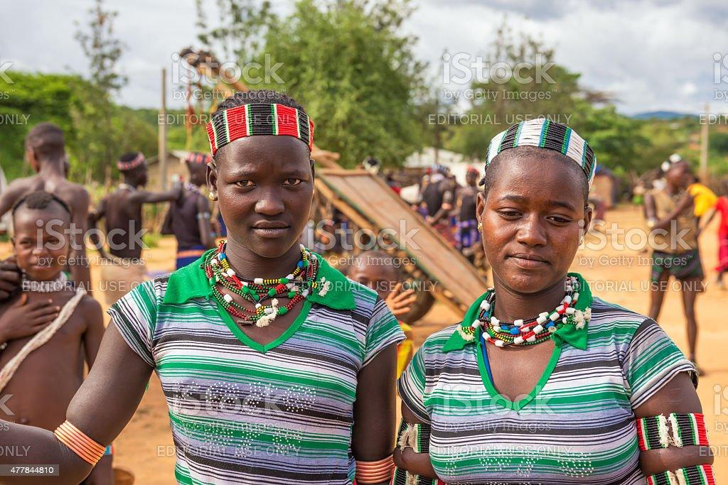 Girls from the Hamar tribet, Turmi, Ethiopia stock photo