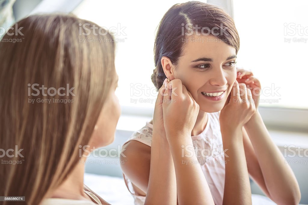 Girls getting ready to the party stock photo