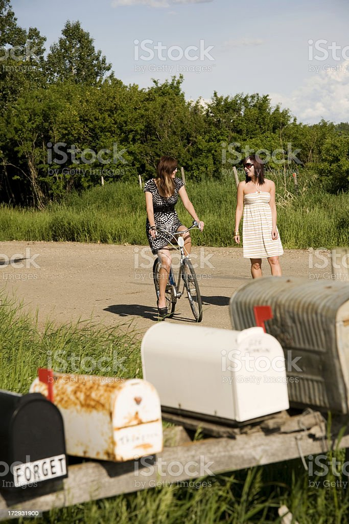 Girls getting the Mail royalty-free stock photo