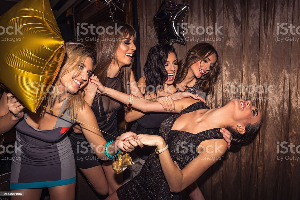 Girls go crazy at party stock photo