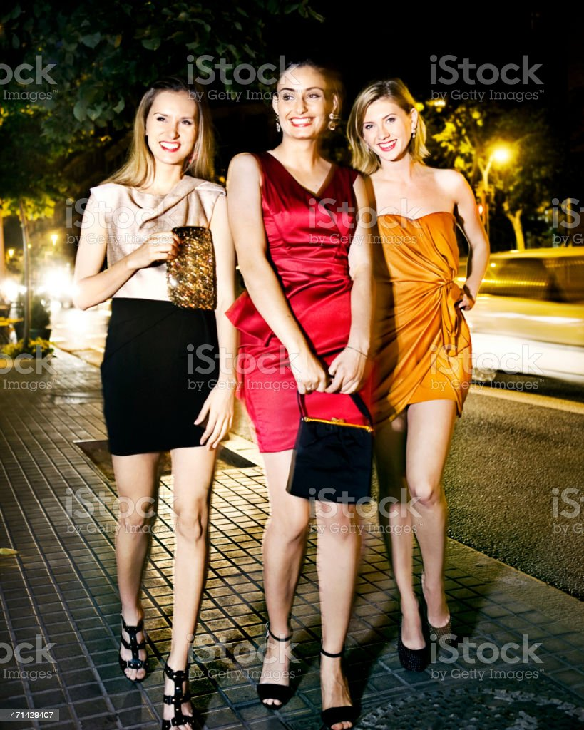 Girls going out stock photo