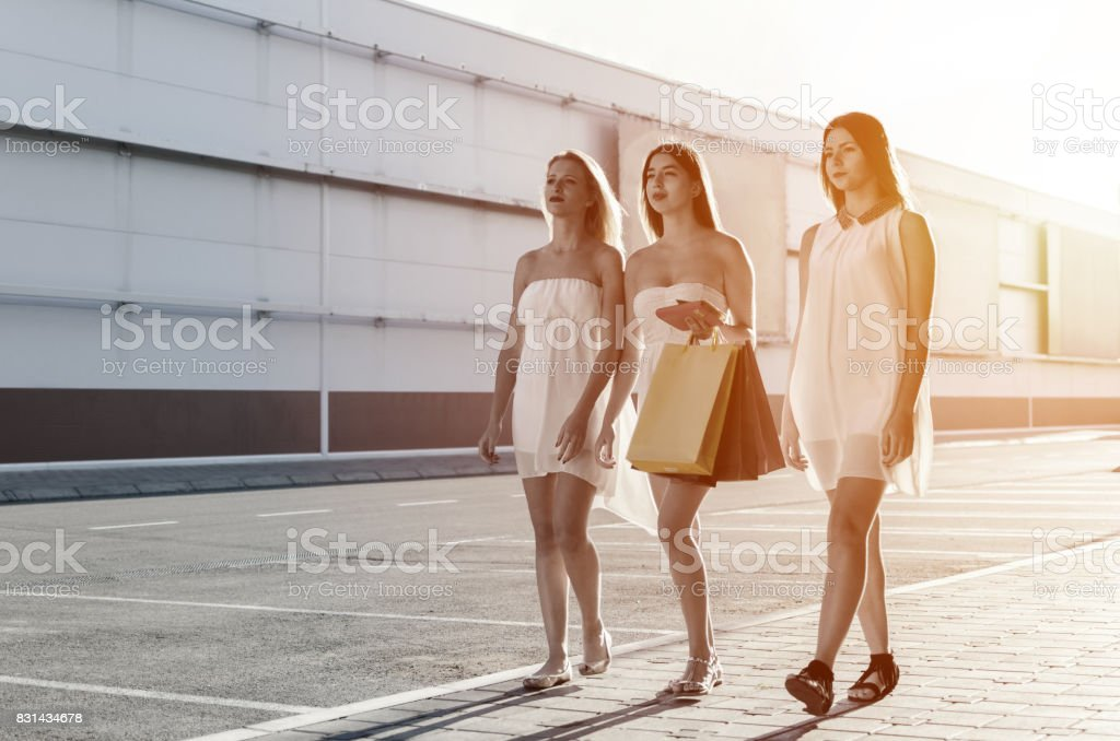 Girls going to the birthday party stock photo