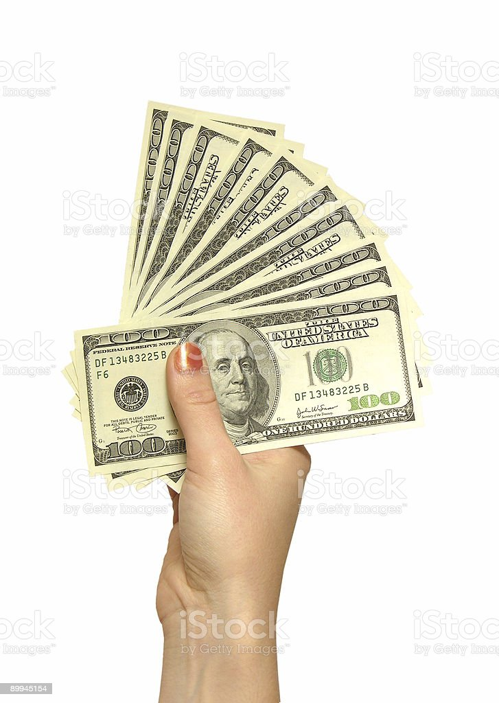 girl's hand with dollars royalty-free stock photo
