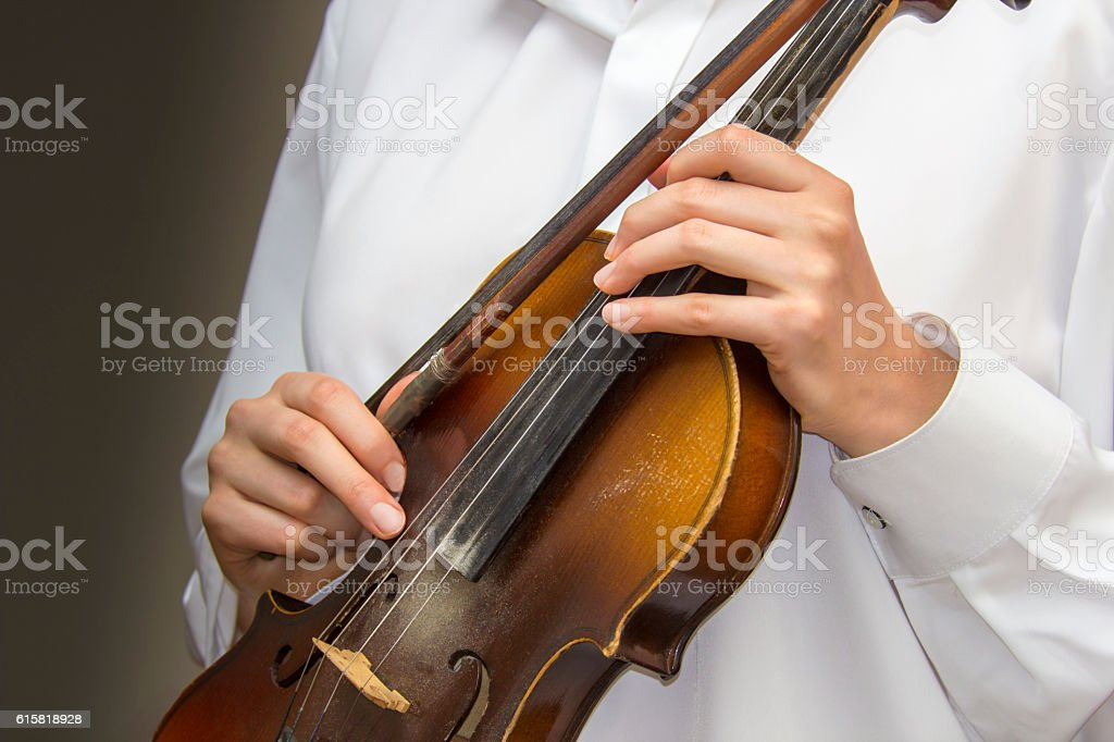 Girl's hands on the strings of a violin stock photo