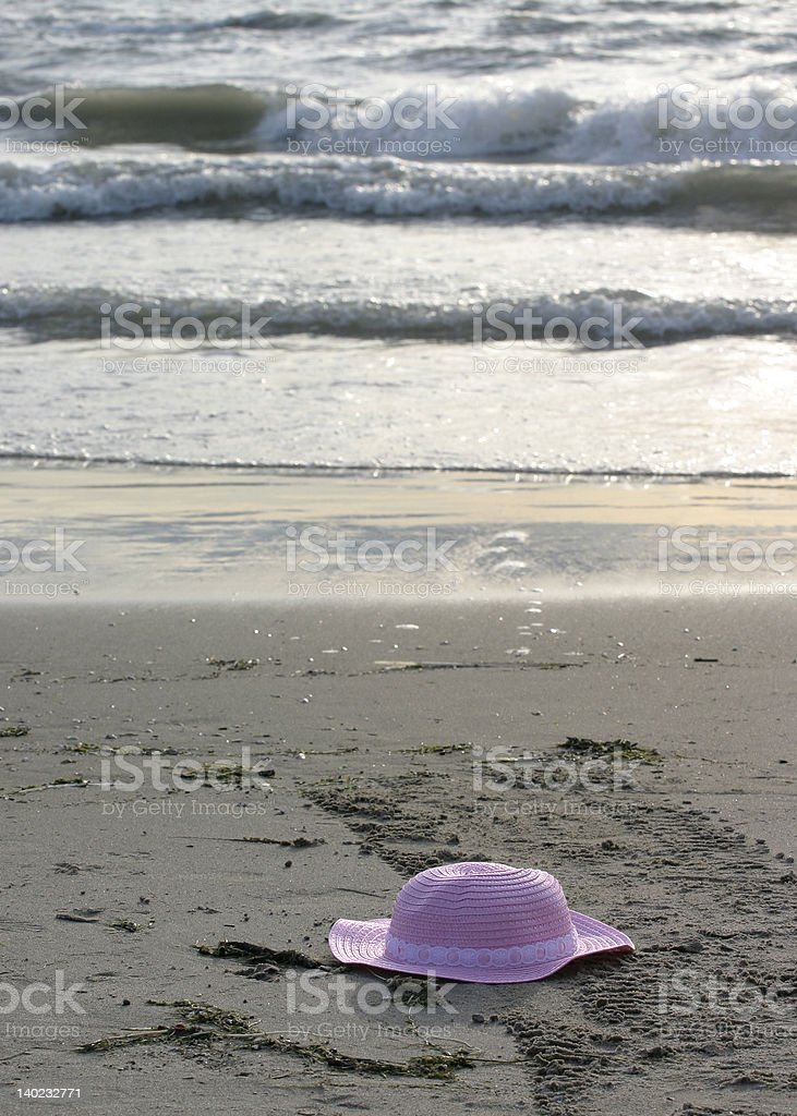 girl's hat on beach royalty-free stock photo