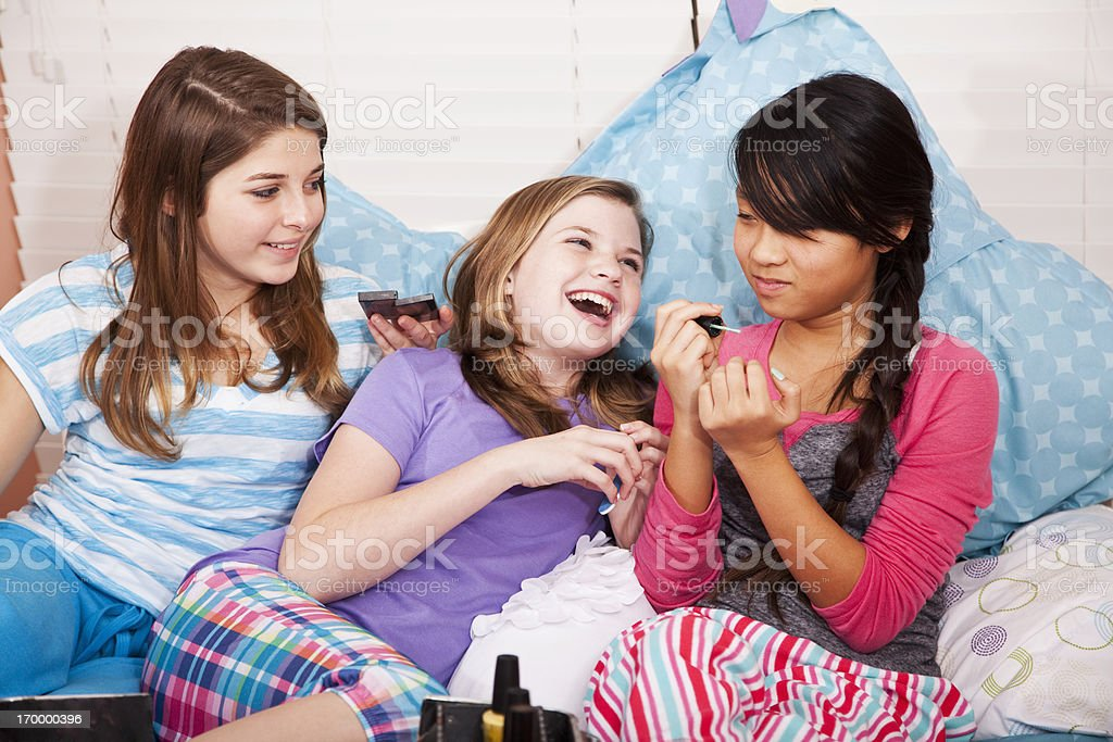 Girls having a slumber party royalty-free stock photo