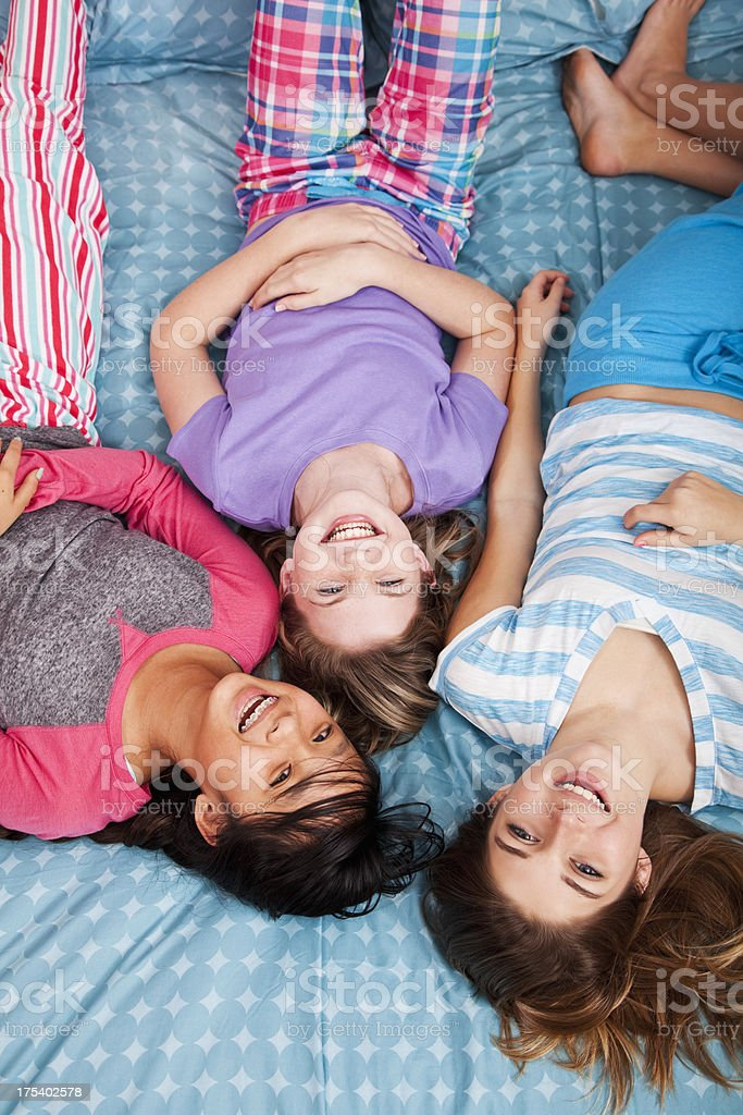 Girls having a slumber party stock photo
