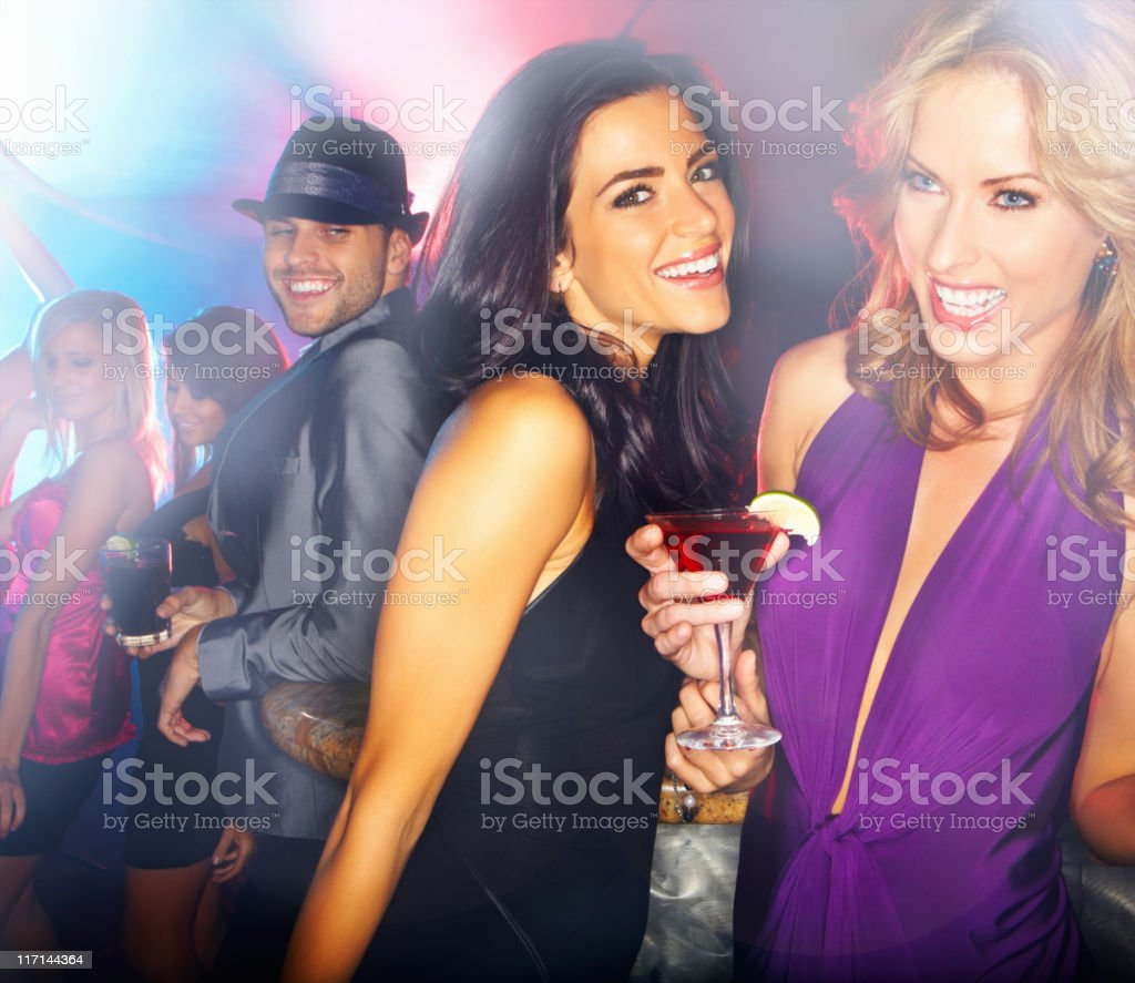 Girls having fun at a night club royalty-free stock photo