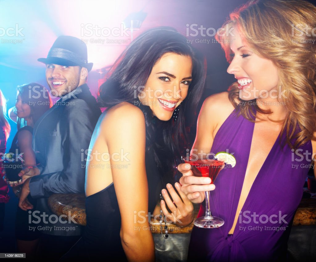 Girls having fun at a night club royalty-free stock photo