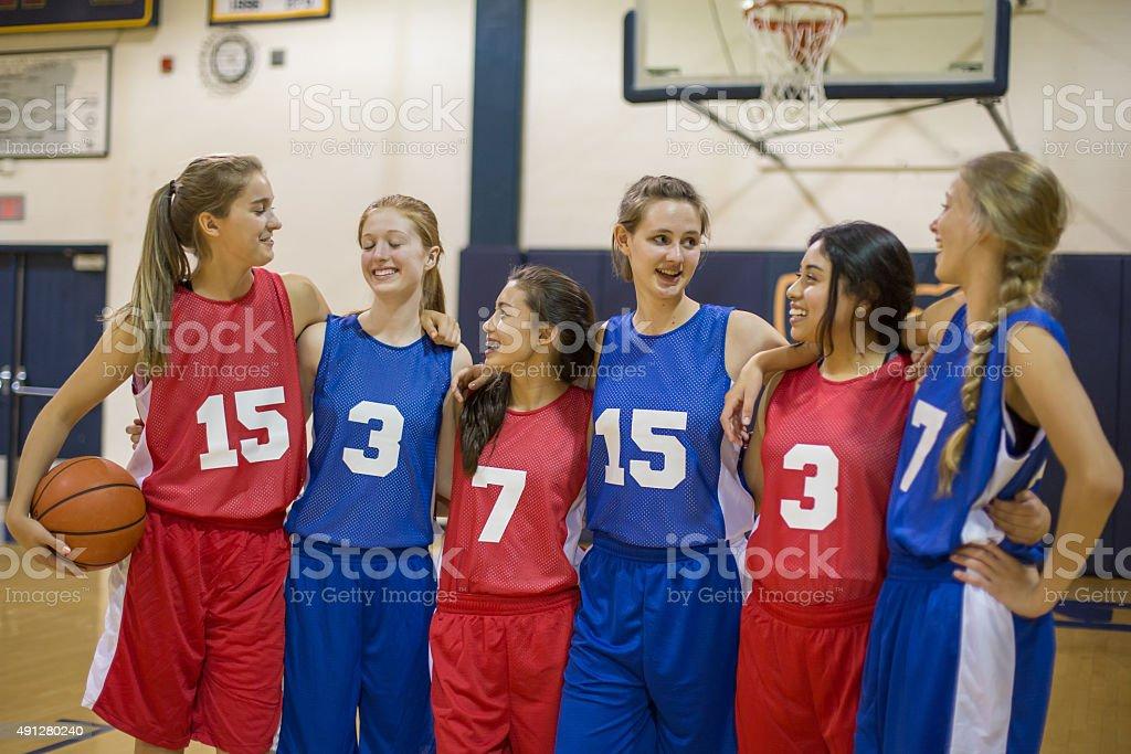 Girls high school basketball stock photo