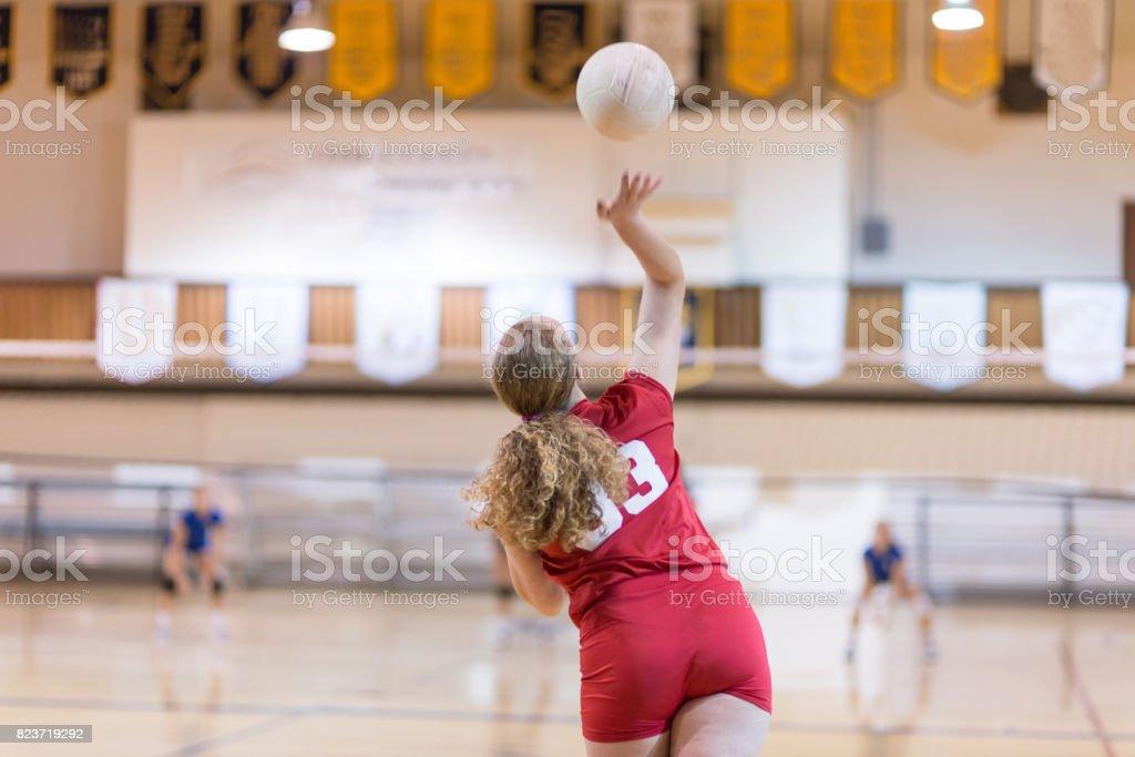 Girls high school volleyball team stock photo