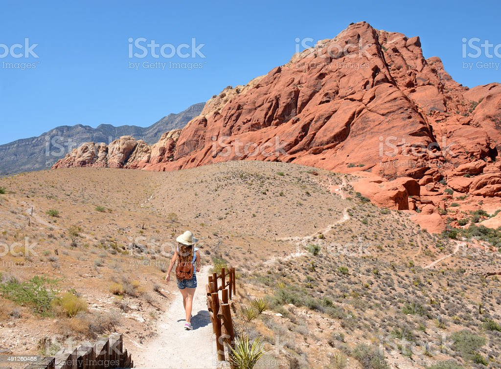Girls hiking in the mountains. stock photo