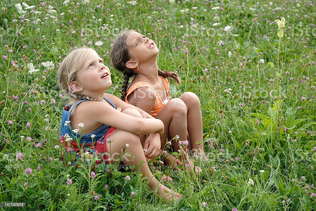 girls in a blooming meadow stock photo
