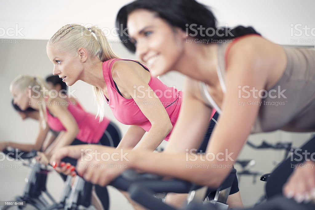 girls in a Spinning Class stock photo