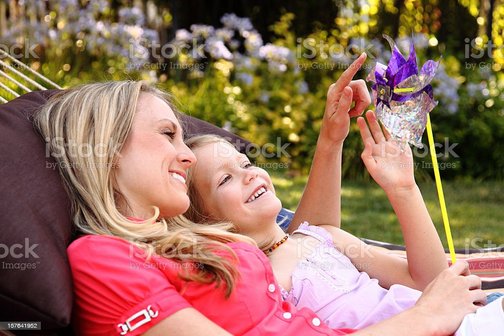 Girls In A Hammock royalty-free stock photo