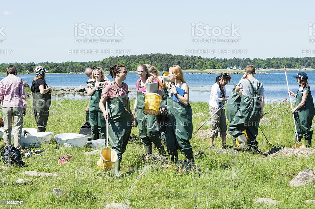 Girls in biology excursion stock photo
