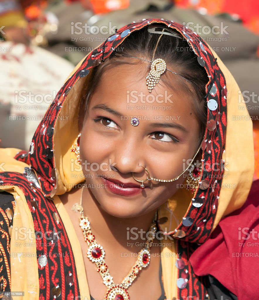 Girls in colorful ethnic attire attends at the Pushkar fair stock photo