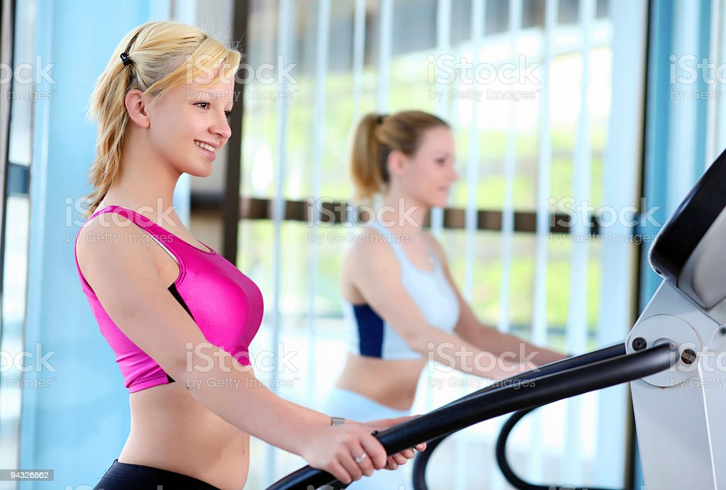 Girls in fitness center. royalty-free stock photo