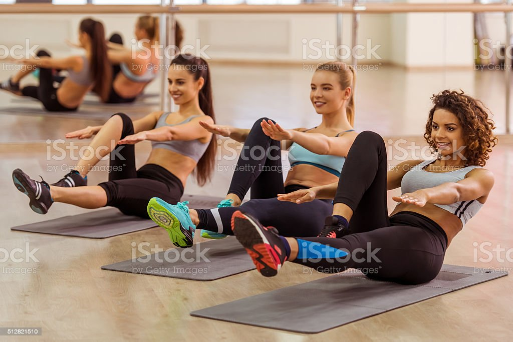 Girls in fitness class stock photo