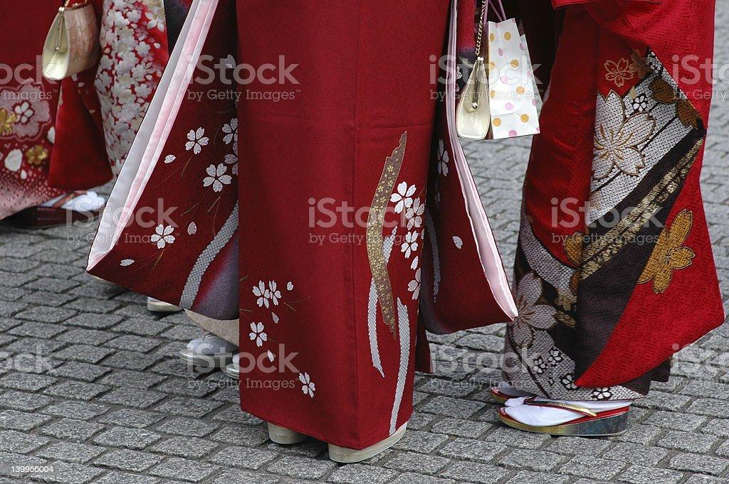 girls in kimono royalty-free stock photo