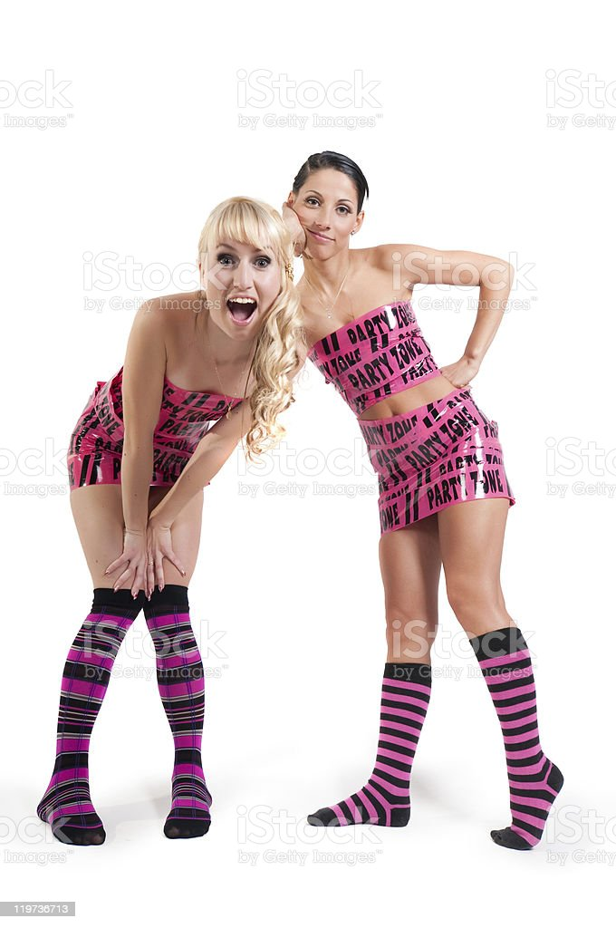 Girls in pink tape dress stock photo