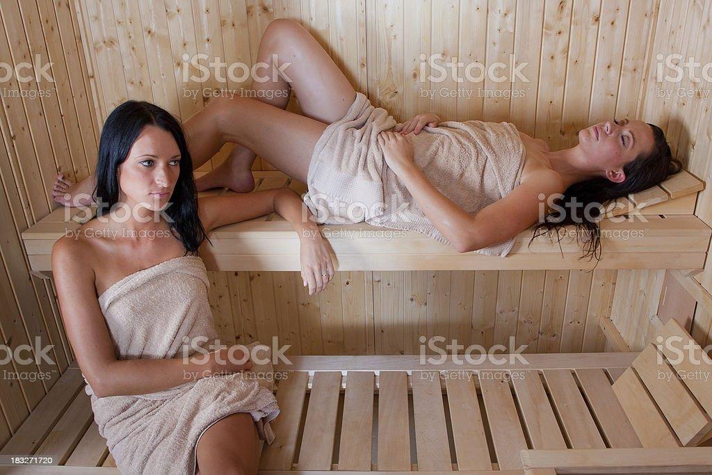 Girls in sauna royalty-free stock photo