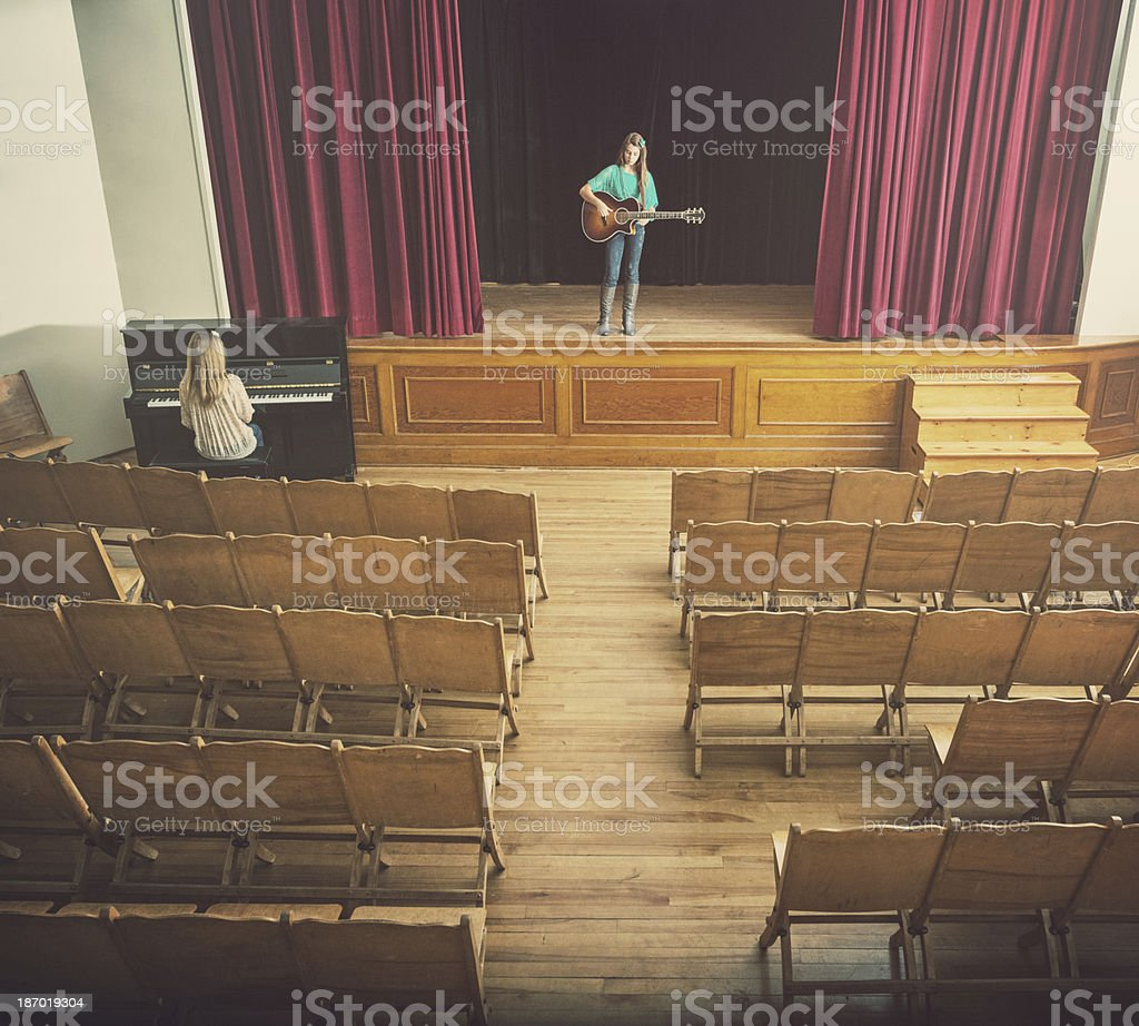 Girls in School Theatre stock photo