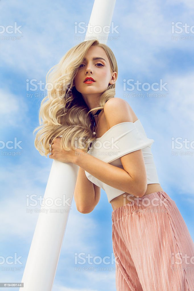 Girls in the clouds stock photo